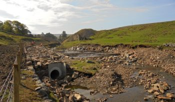 West Allen check weir - looking upstream. Water and abandoned metal mines case study