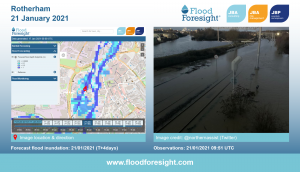 Flood Foresight forecasting flood extent and depths, Rotherham 2021